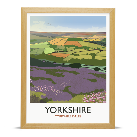 Place in Print Rick Smith Yorkshire Travel Poster Art Print 30x40cm Wood Frame
