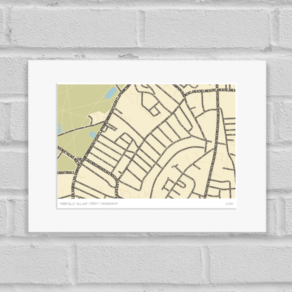 Abbeville Village Street Typography Map Art Poster Print Mounted