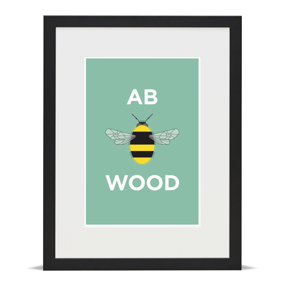Place in Print Pate Abbey Wood Neighbourhood Pun Art Print Black Frame
