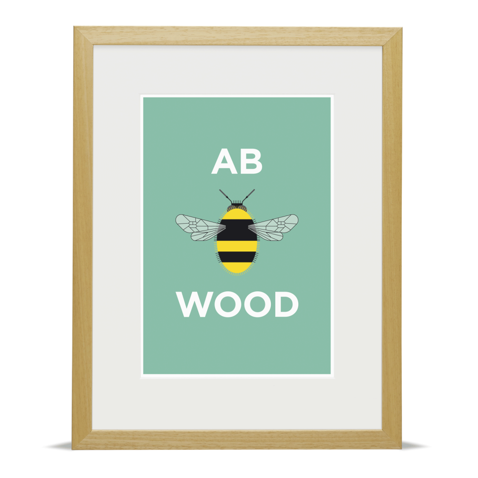 Place in Print Pate Abbey Wood Neighbourhood Pun Art Print Wood Frame