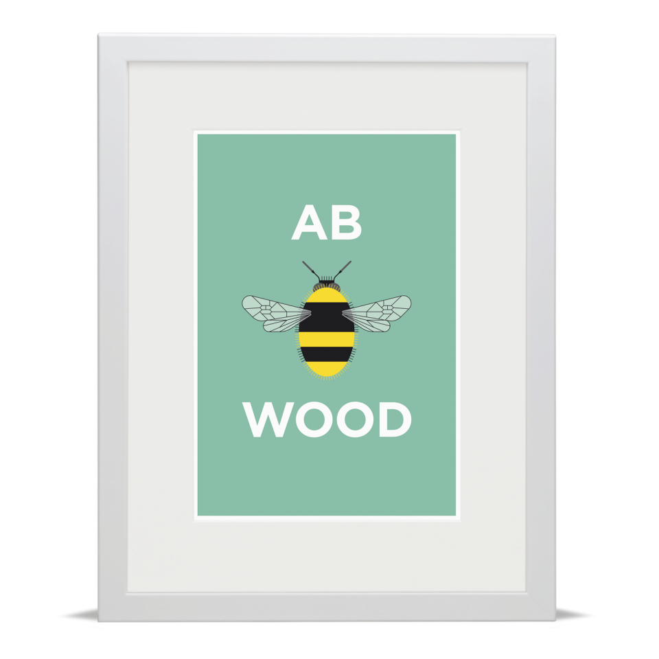 Place in Print Pate Abbey Wood Neighbourhood Pun Art Print White Frame