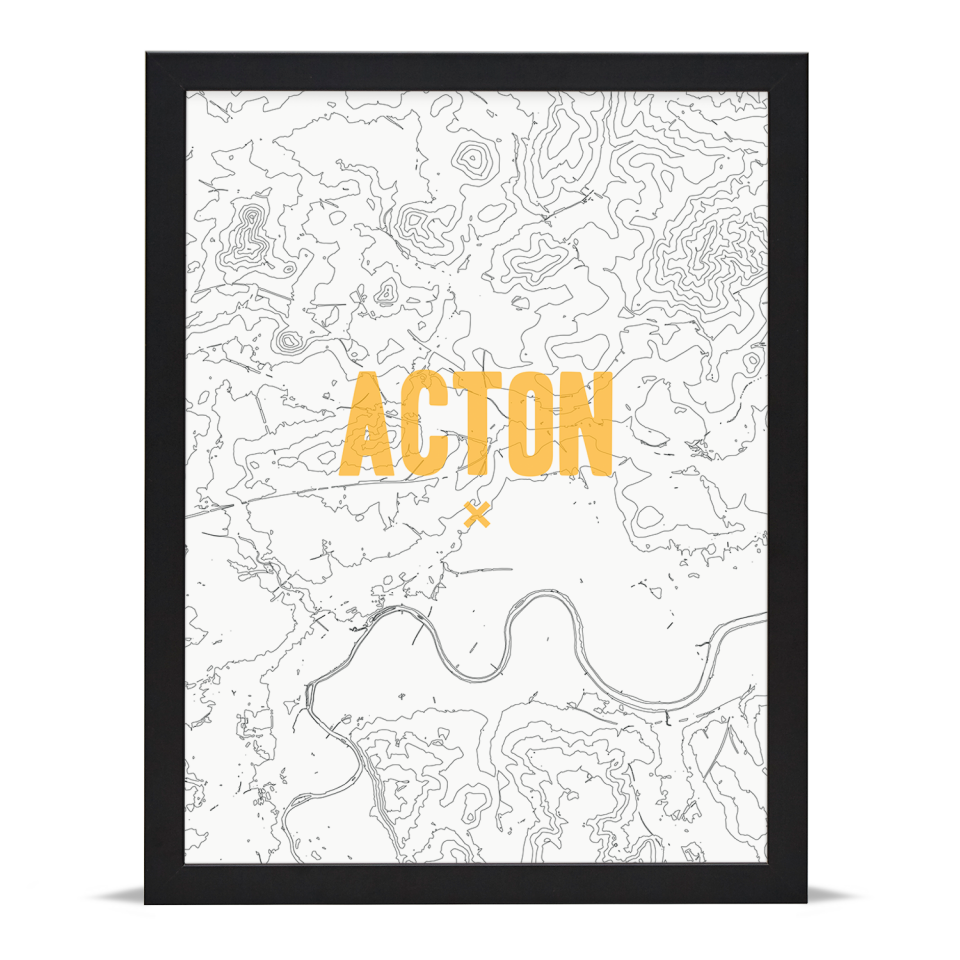 Place in Print Acton Contours Gold Art Print Black Frame