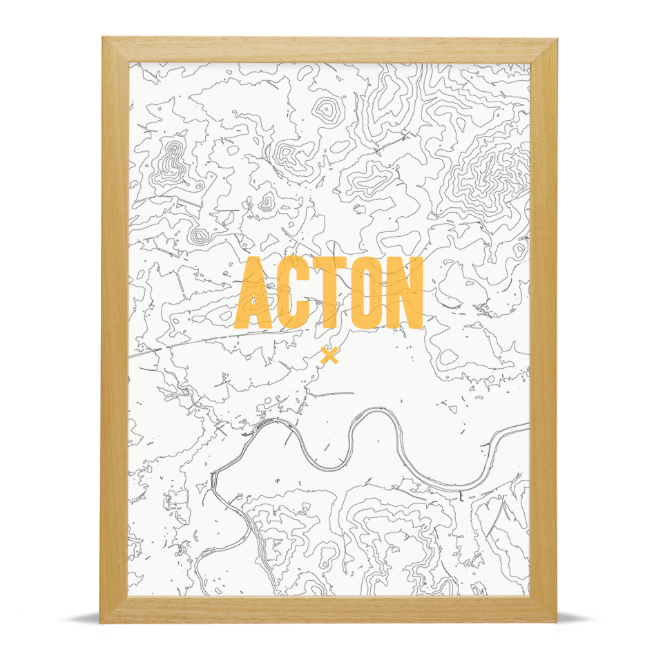 Place in Print Acton Contours Gold Art Print Wood Frame