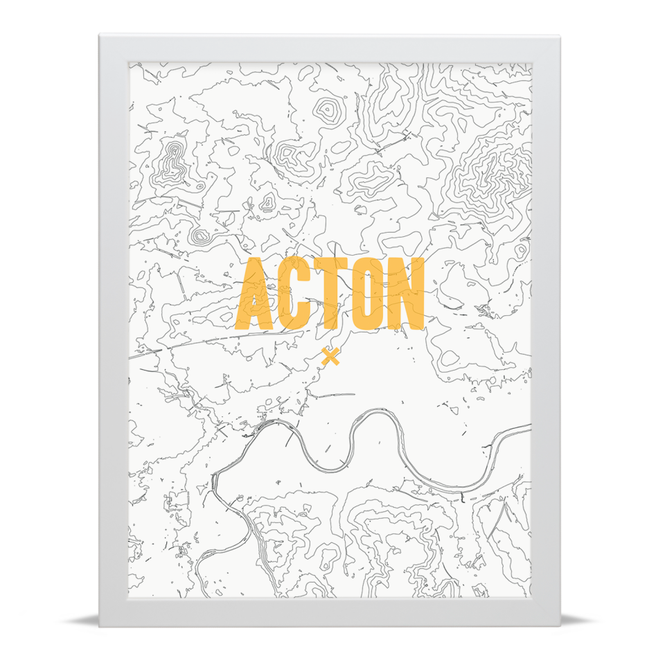 Place in Print Acton Contours Gold Art Print White Frame