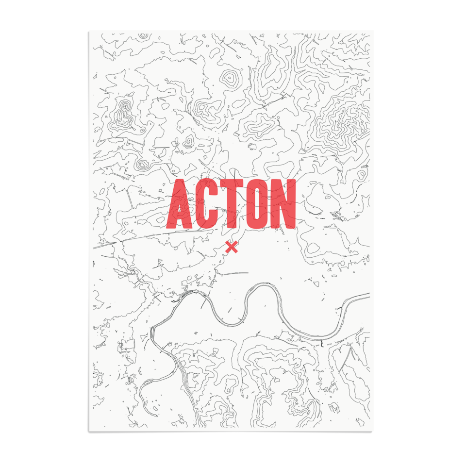Place in Print Acton Contours Red Art Print Unframed