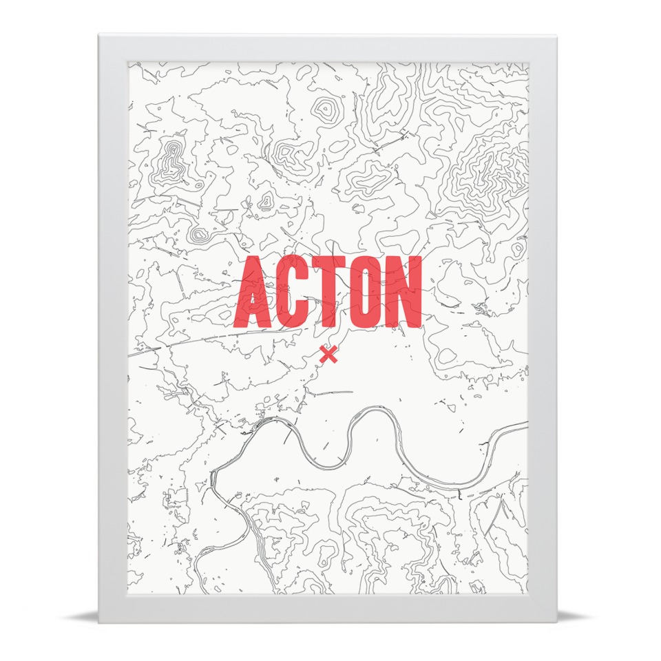 Place in Print Acton Contours Red Art Print White Frame
