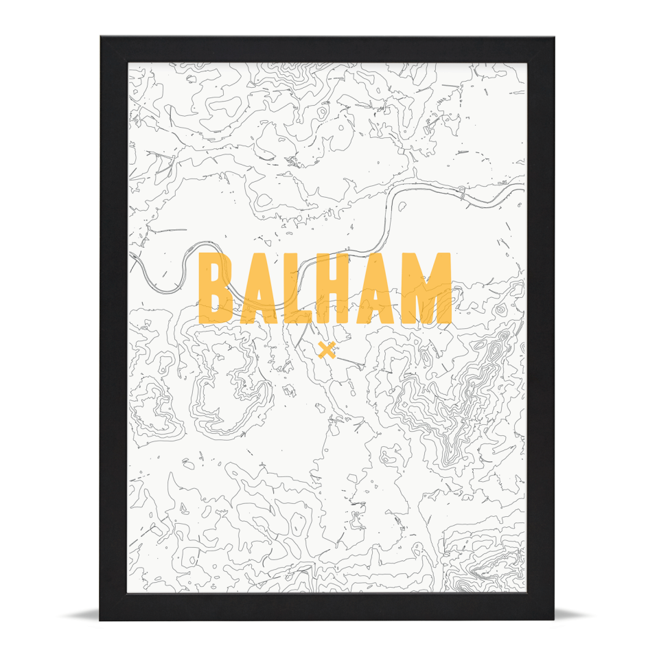 Place in Print Balham Contour Map Art Print Gold Black Frame