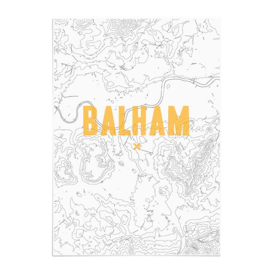 Place in Print Balham Contour Map Art Print Gold Unframed