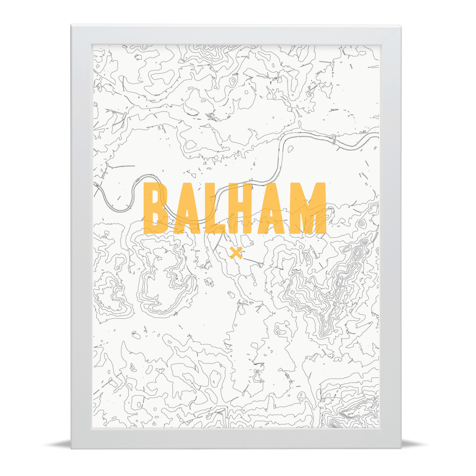 Place in Print Balham Contour Map Art Print Gold White Frame