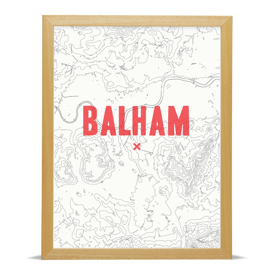 Place in Print Balham Contour Map Art Print Red Wood Frame