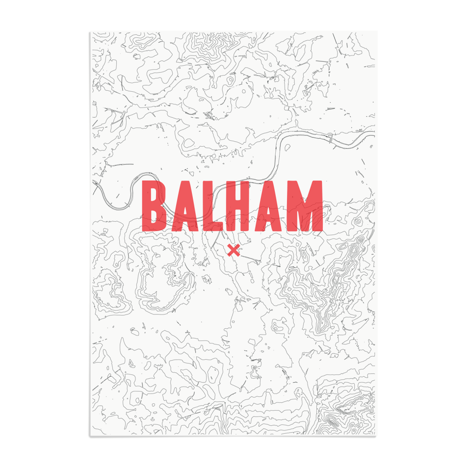 Place in Print Balham Contour Map Art Print Red Unframed