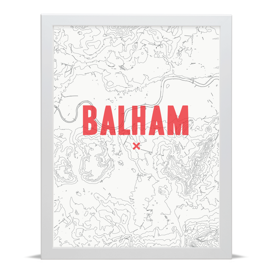 Place in Print Balham Contour Map Art Print Red White Frame