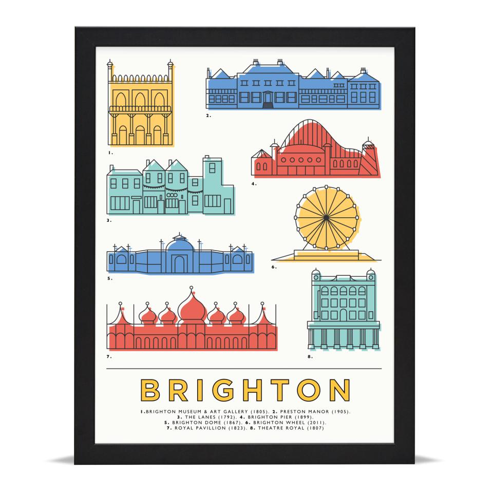 Place in Print East Atlantic Design Brighton Icons Landmarks Art Poster Print Black Frame