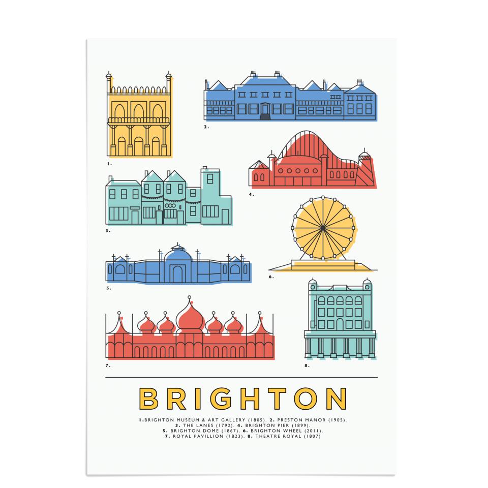 Place in Print East Atlantic Design Brighton Icons Landmarks Art Poster Print Unframed