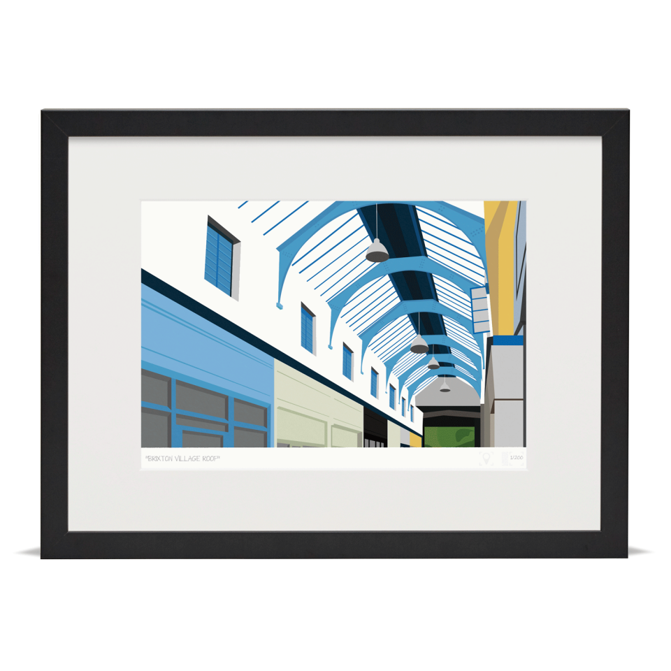 South London Prints Brixton Village Roof Art Poster Print Black Frame