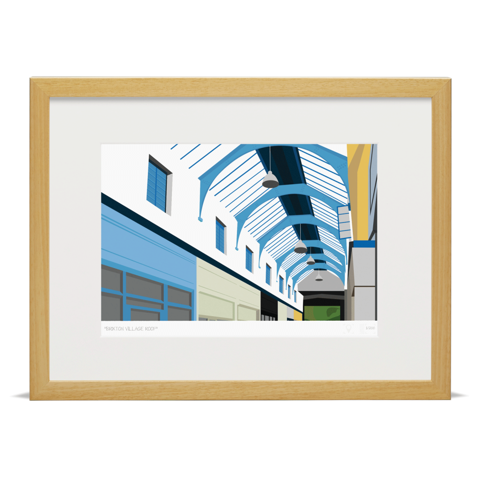 South London Prints Brixton Village Roof Art Poster Print Wood Frame