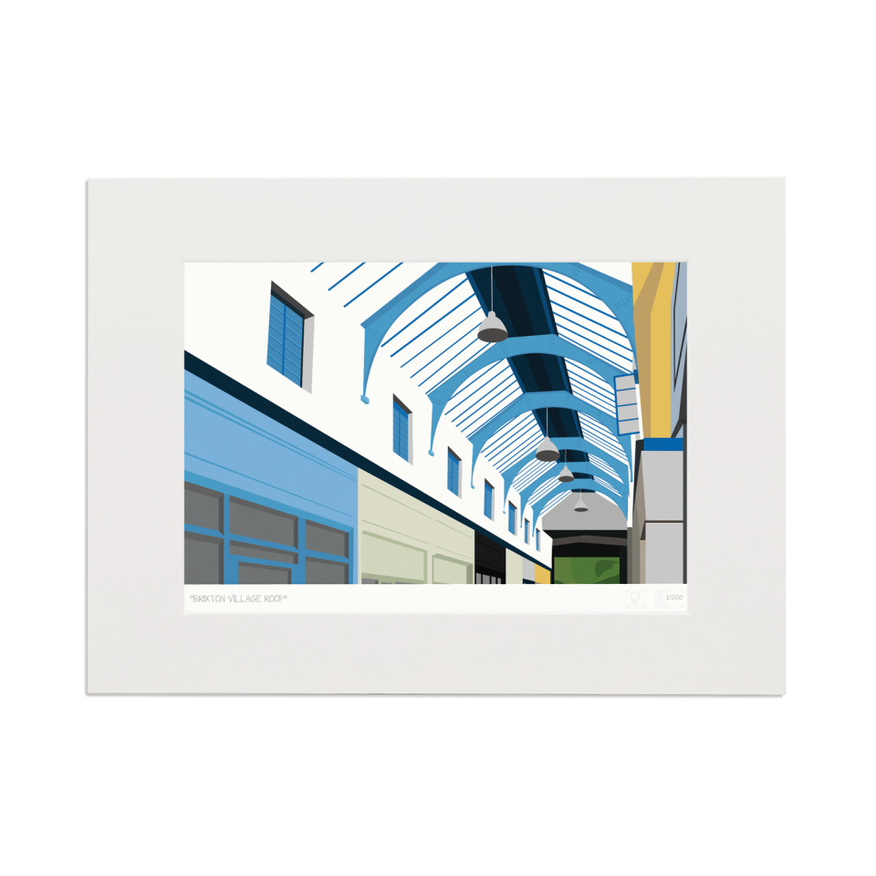 South London Prints Brixton Village Roof Art Poster Print Mounted