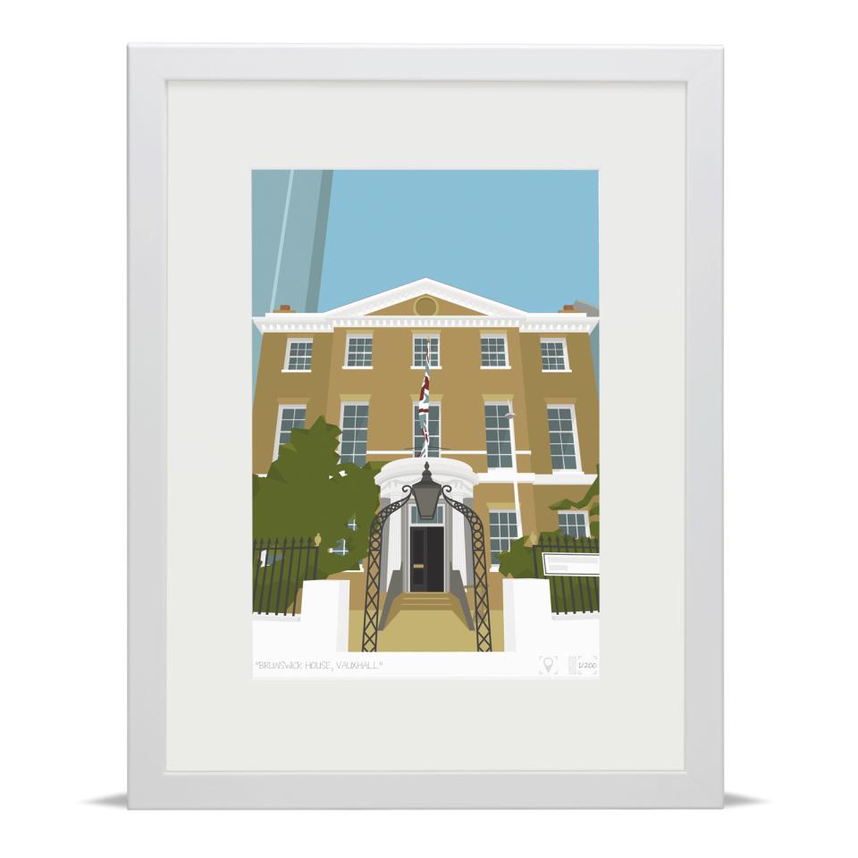 Place in Print Brunswick House Vauxhall Art Print White Frame