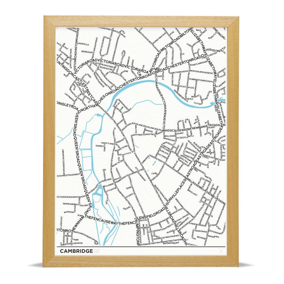 Place in Print Cambridge Type Typography Map Art Print Wood Frame