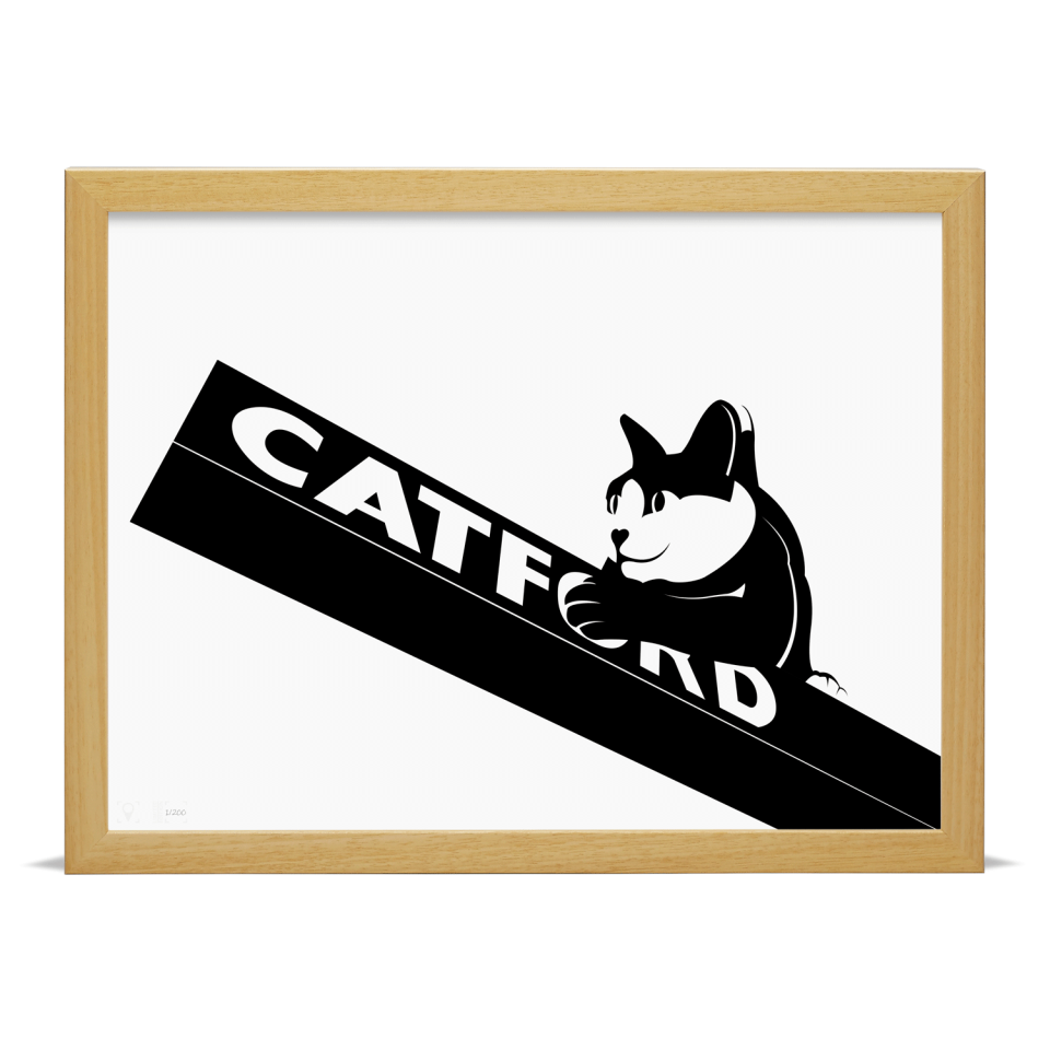 Place in Print Catford Cat 2 SE6 Art Print Wood Frame
