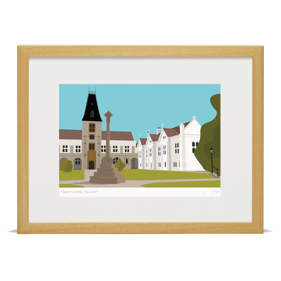 Place in Print Christ's Chapel Dulwich London Art Print Wood Frame