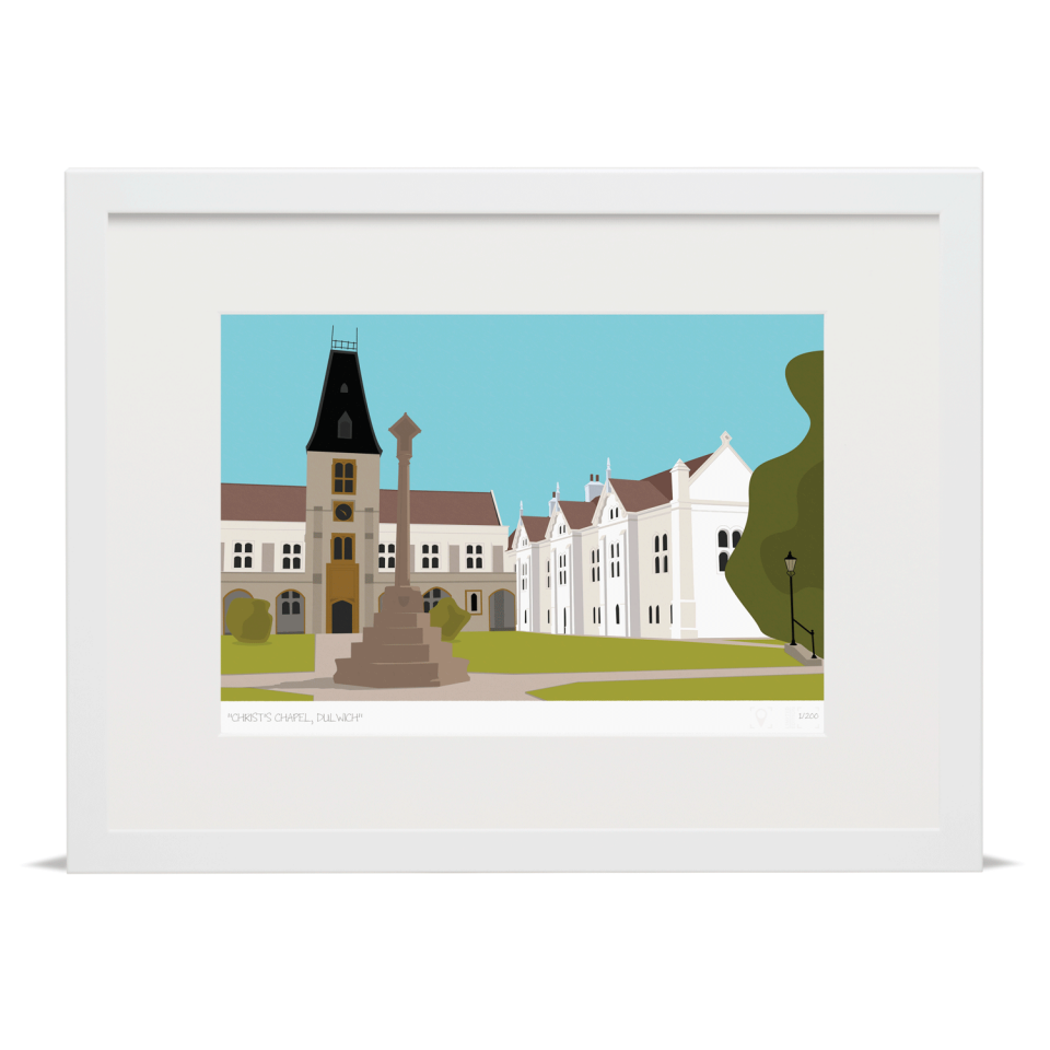 Place in Print Christ's Chapel Dulwich London Art Print White Frame