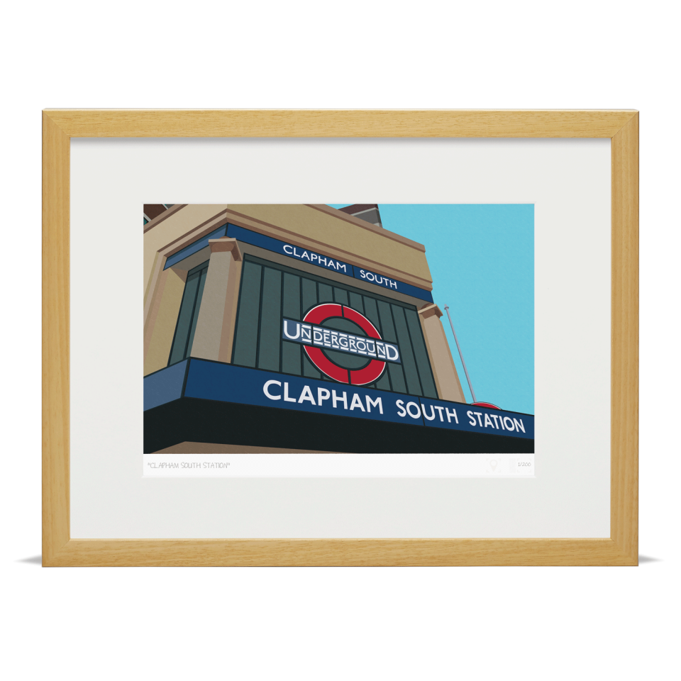 Place In Print South London Prints Clapham Tube Underground Station Art Wood Frame