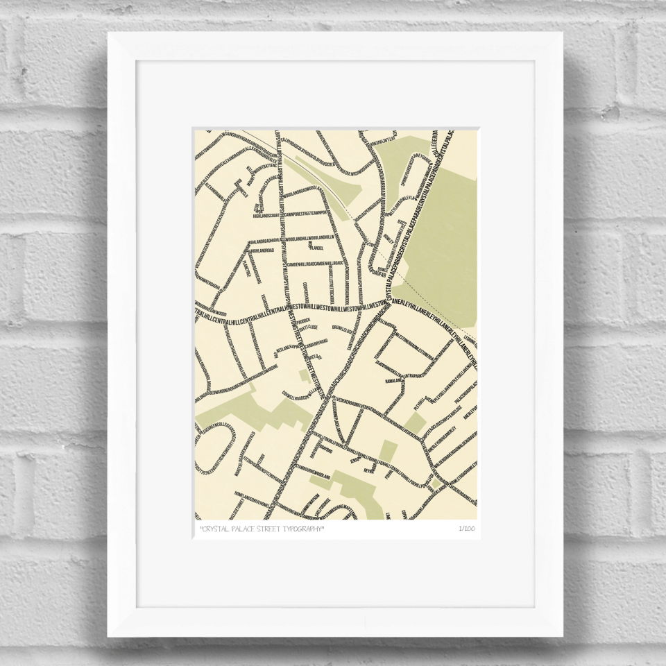 Crystal Palace Street Typography Limited Edition Giclée Art Print ...