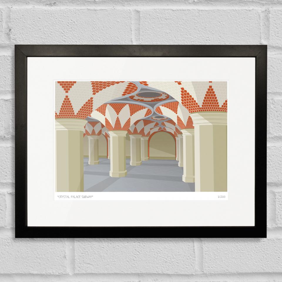 South London Prints Crystal Palace Subway Art Poster Print Black Frame