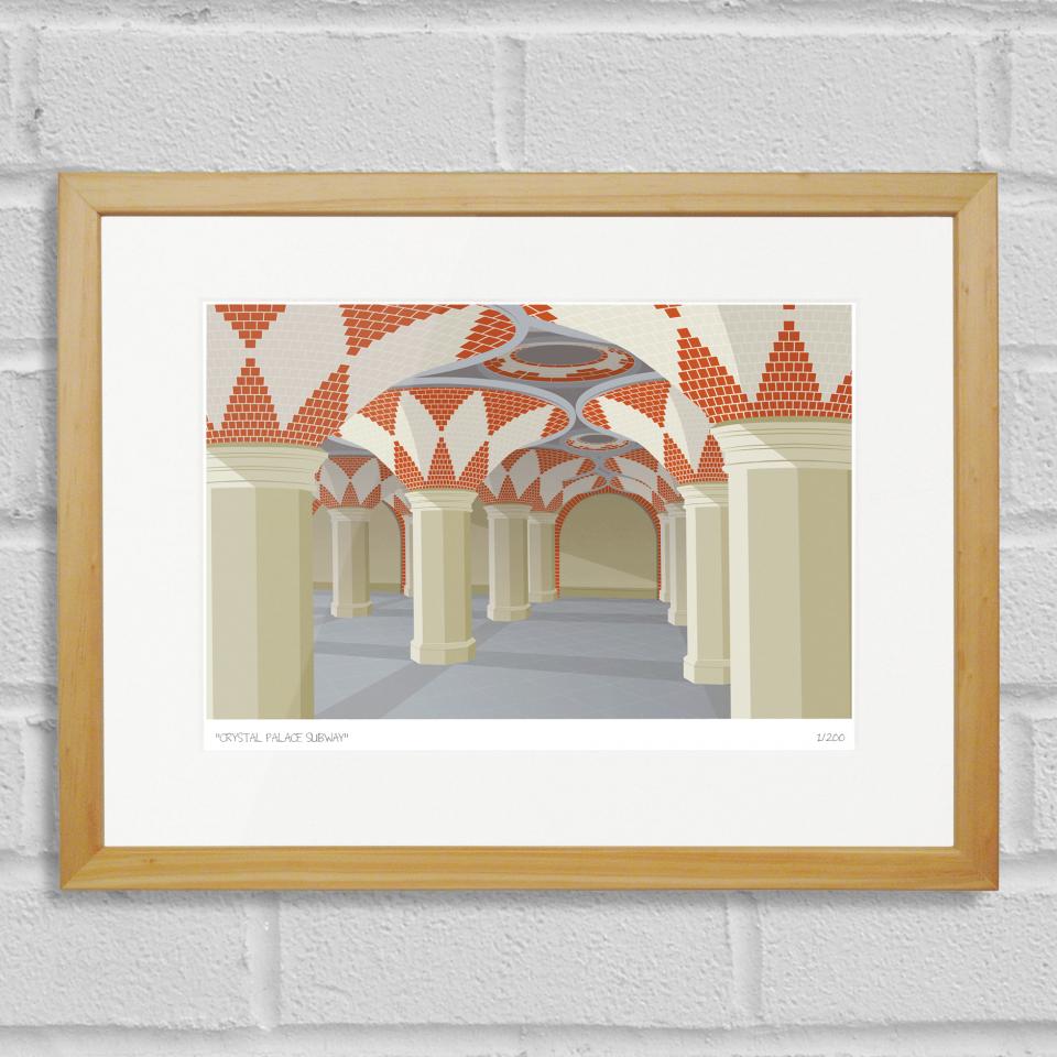 South London Prints Crystal Palace Subway Art Poster Print Wood Frame