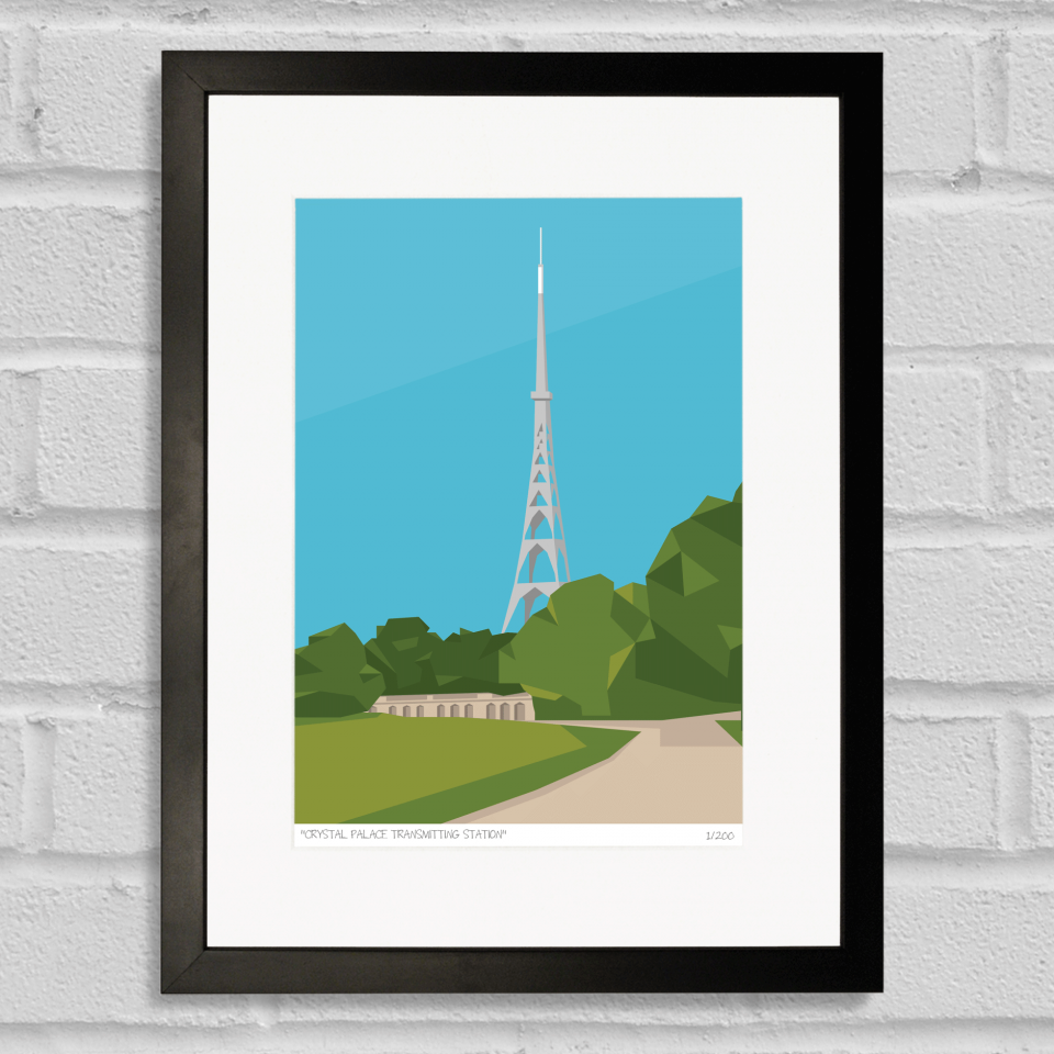 Place in Print Crystal Palace Transmitter Antenna Art Poster Print Black Frame