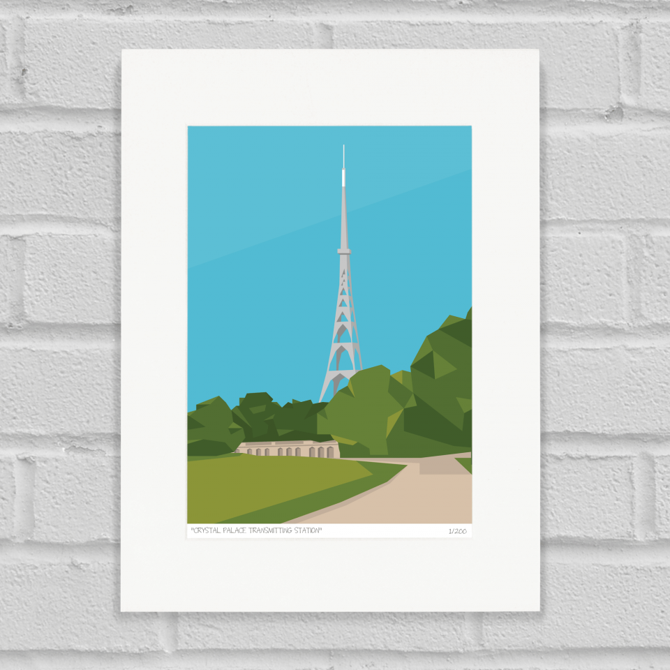 Place in Print Crystal Palace Transmitter Antenna Art Poster Print Mounted