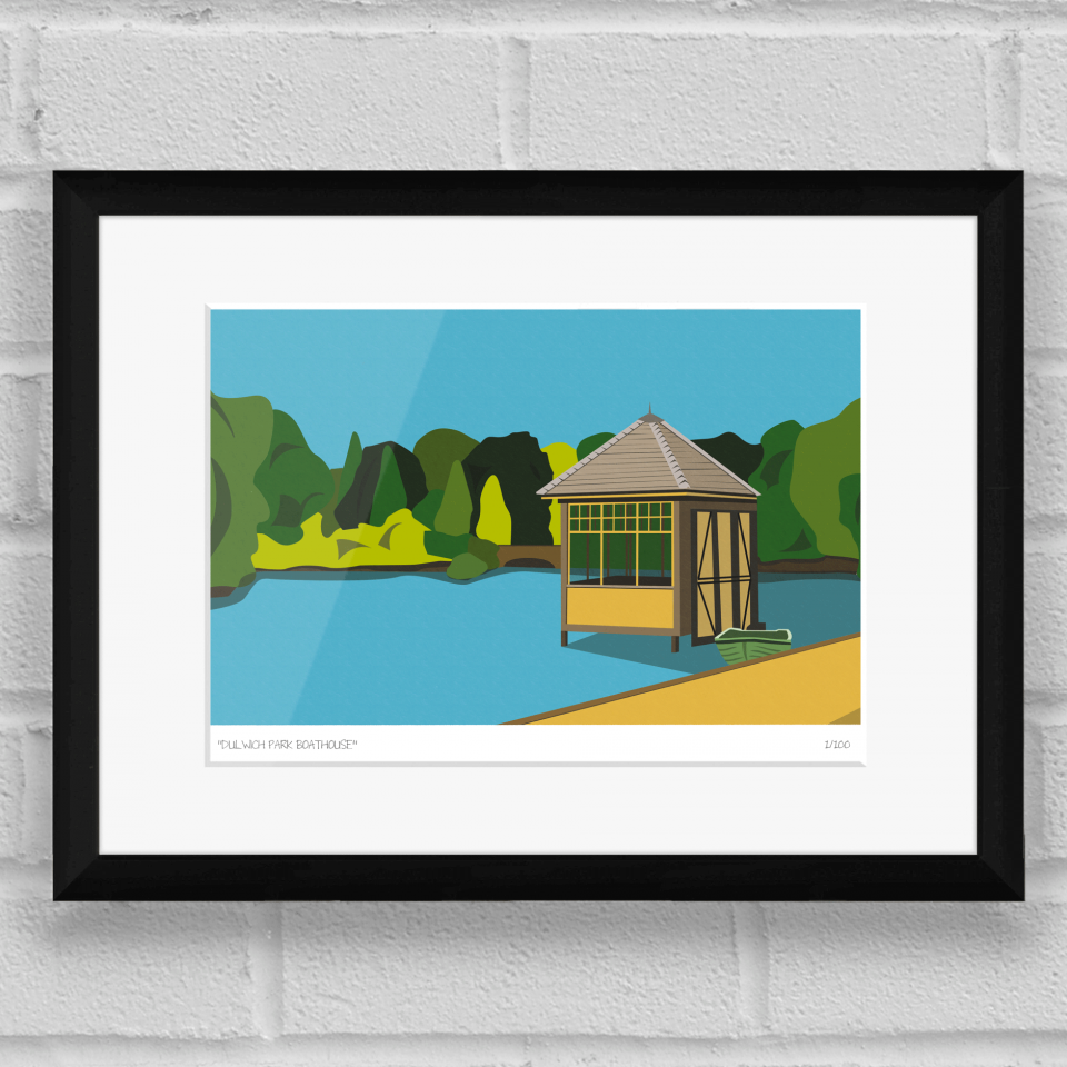 Dulwich Park Boathouse Art Poster Print Black Frame