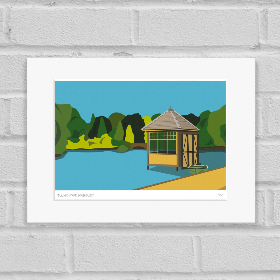 Dulwich Park Boathouse Art Poster Print Mounted