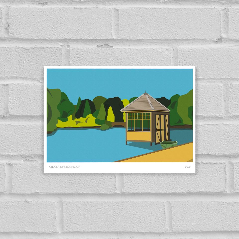 Dulwich Park Boathouse Art Poster Print Unframed