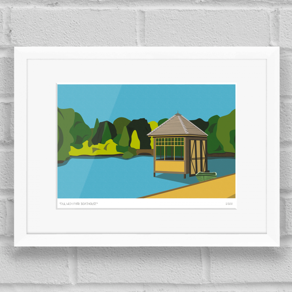 Dulwich Park Boathouse Art Poster Print White Frame