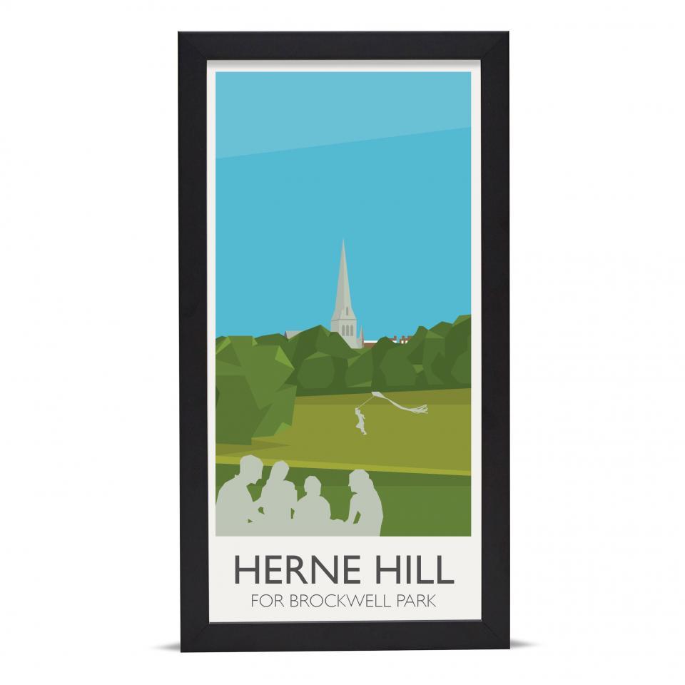 Place in Print Herne Hill Lammppost Banners Brockwell Park Art Poster Print Black Frame