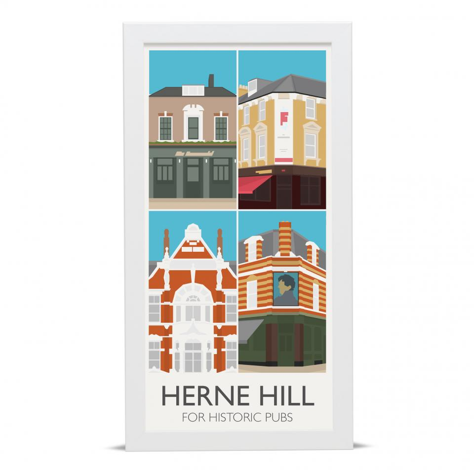 Place in Print Herne Hill Lamppost Banners Pubs Art Poster Print Black Frame