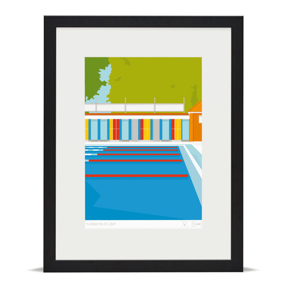 Place in Print London Fields Lido Limited Edition Art Print Black Framed