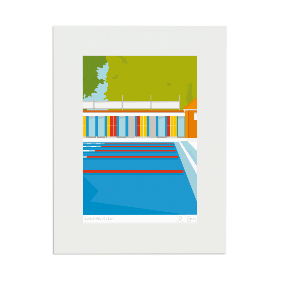 Place in Print London Fields Lido Limited Edition Art Print Mounted