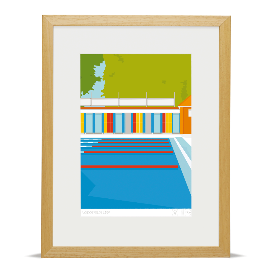 Place in Print London Fields Lido Limited Edition Art Print Wood Framed