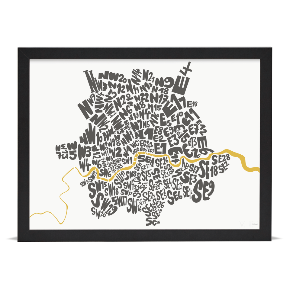 Place in Print London Postcodes Black Gold Art Poster Print Black Frame