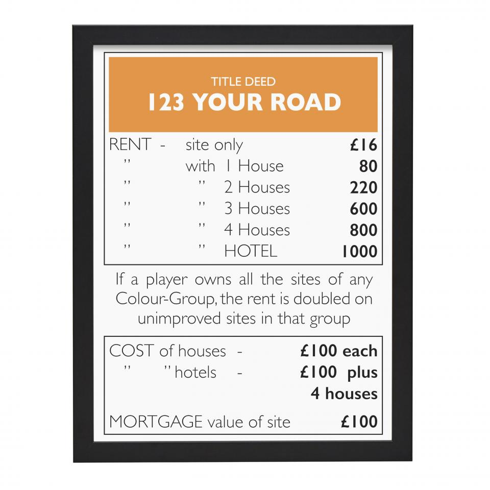 Place in Print Personalised Monopoly Property Title Deed Art Poster Print Black Frame