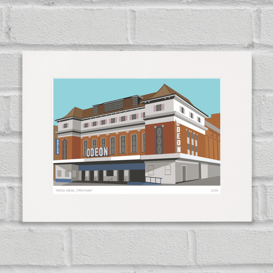 Place in Print Odeon Cinema Streatham Art Poster Print Mounted