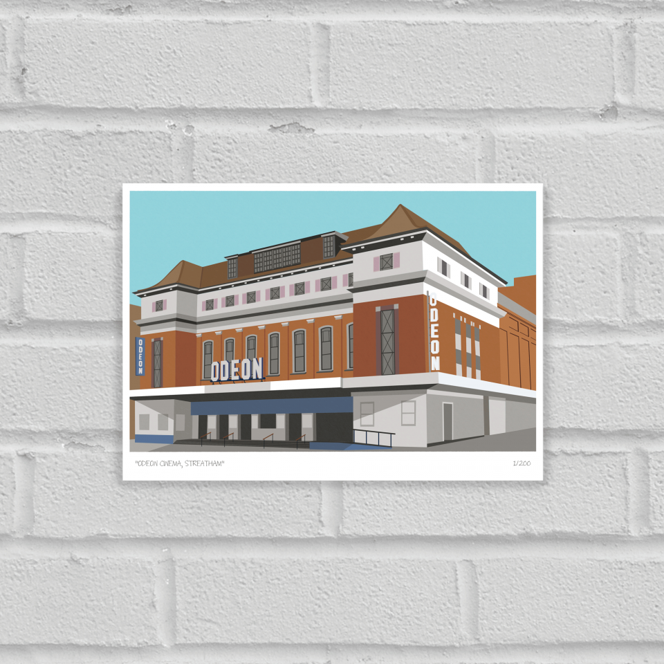 Place in Print Odeon Cinema Streatham Art Poster Print Unframed