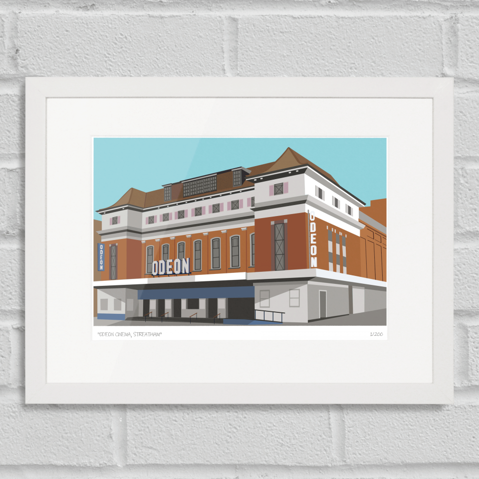 Place in Print Odeon Cinema Streatham Art Poster Print White Frame