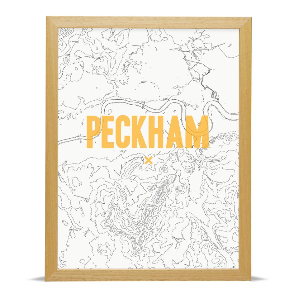 Place in Print Peckham Contours Gold Art Print Wood Frame
