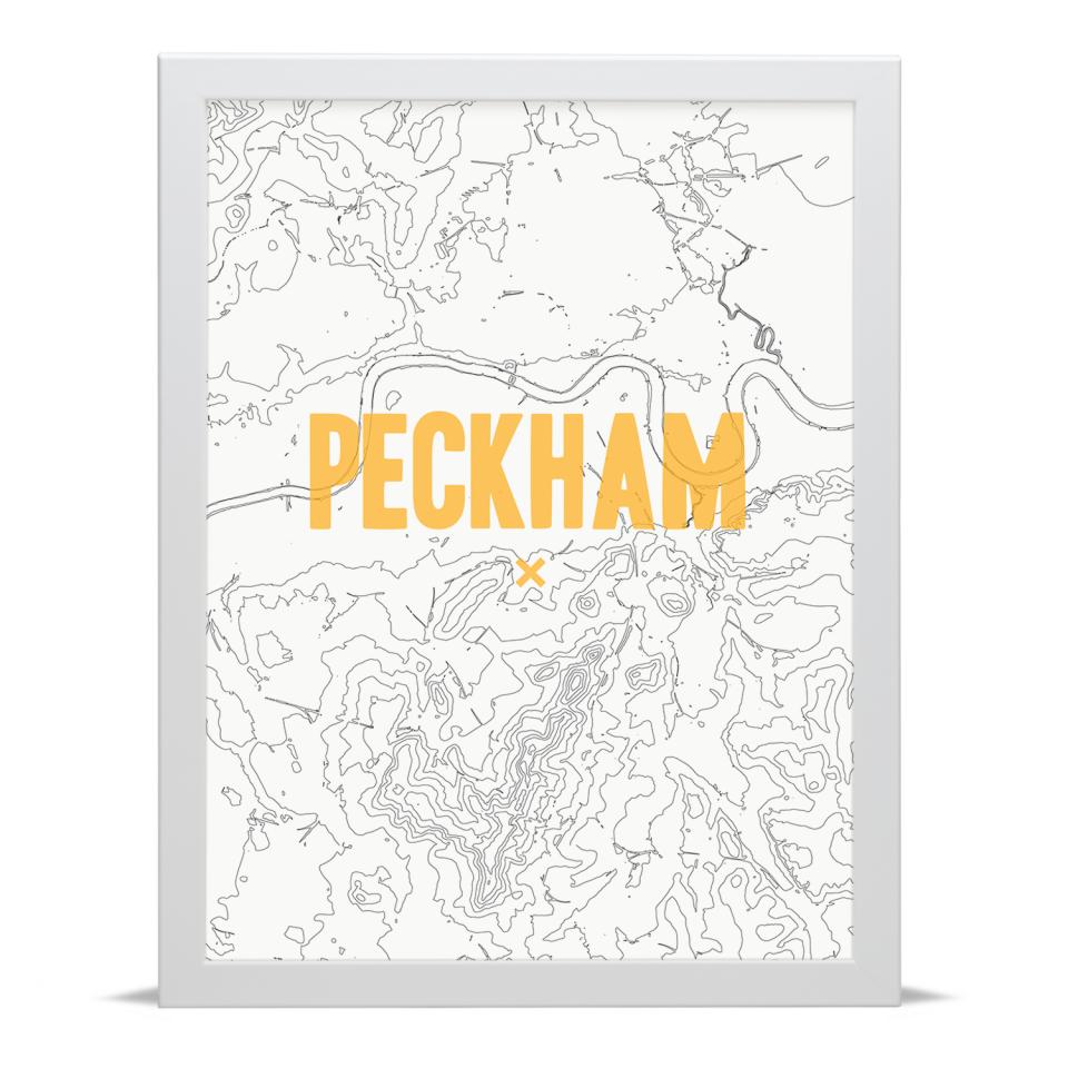 Place in Print Peckham Contours Gold Art Print White Frame