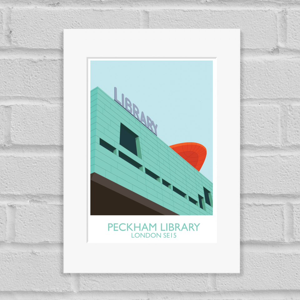 Peckham Library Art Poster Print Mounted
