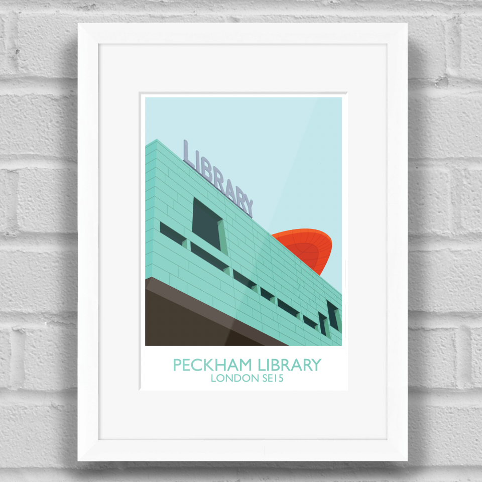 Peckham Library Art Poster Print White Frame